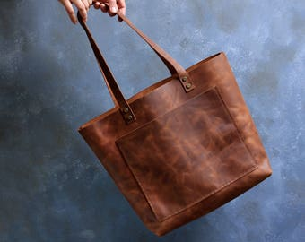 Tote bag Tobacco distressed leather Tote bag with pockets Large leather tote bag  Hand stitched shopper bag