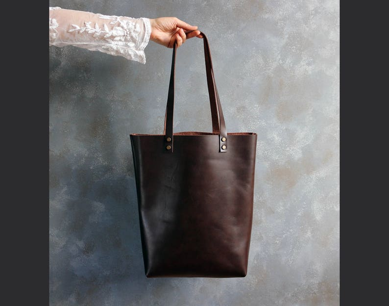 Tote bag Leather Laptop Bag Tote bag with pockets Tall leather