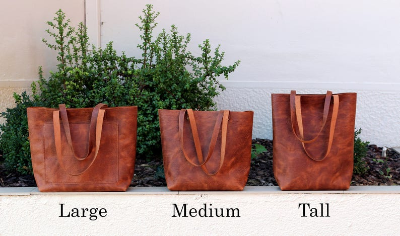 9e6d01a459f1 Tall leather tote bag Tote bag with pockets Tobacco