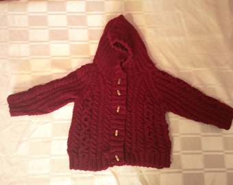hand knitted homemade Red hooded Jacket  a6690f1b6230