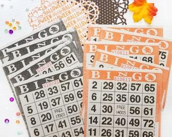 Halloween Bingo Cards | Black and Orange Bingo Cards | Set of 10 for Junk Journals, Paper Crafts