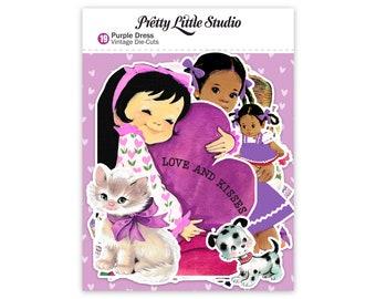 Pretty Little Studio Vintage Style Die Cuts - Purple Dress - Little Girl Ephemera for Junk Journal Embellishments