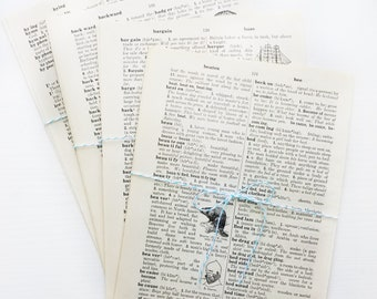 Vintage Dictionary Book Pages | Set of 10 Sheets for Junk Journals, Collage, Ephemera