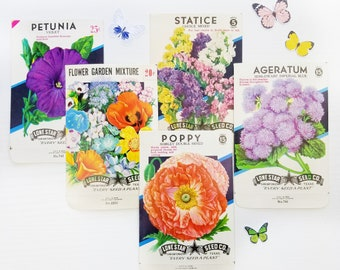 Vintage Seed Packets | Set of 5 | Lone Star Empty Seed Packets for Junk Journals | Crafting | Collage