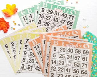 Fall Bingo Cards for Junk Journals | Paper Bingo Cards in Yellow, Green, Orange | Set of 12 for Fall, Gratitude, Thanksgiving Journals