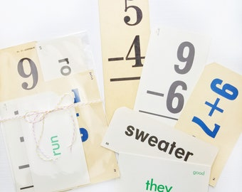 Vintage Flash Cards | Set of 5 | Math and Word Flash Cards for Junk Journals