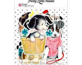 Pretty Little Studio Vintage Style Die Cuts - Ginger - Vintage Dog Images for Junk Journal Embellishments