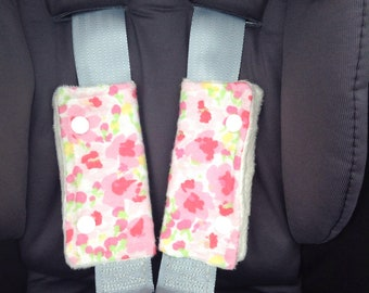 Baby car seatbelt cover floral flowers Laura Ashley Fabric baby shower gifts