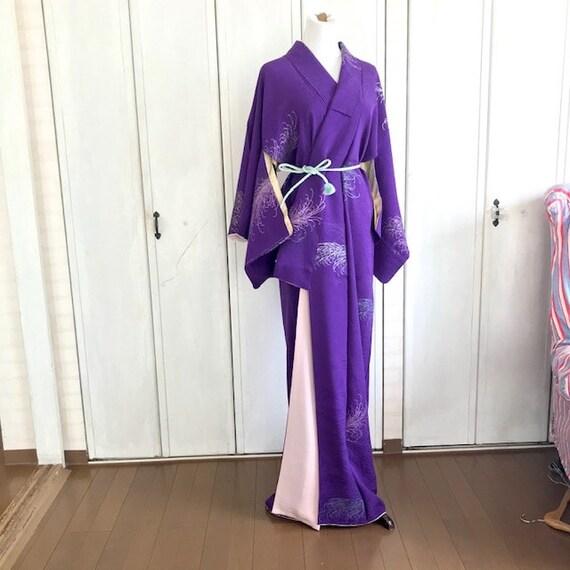Vintage silk kimono KOMON, purple silk crepe, wove