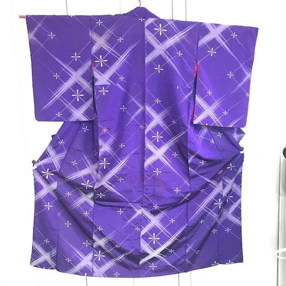 Vintage silk Kimono OMESHI  1940s, Purple and silv