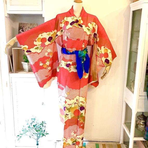 Vintage silk Kimono, Parallel design NOSHIME style