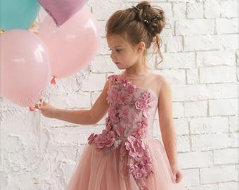 e561bd300 Blush Pink Flower Girl Dress Blush Flower Girl Dress Birthday Bridesmaid  Holiday Blush Pink Tutu Dress Lace Flower Girl Dress 3D Flowers