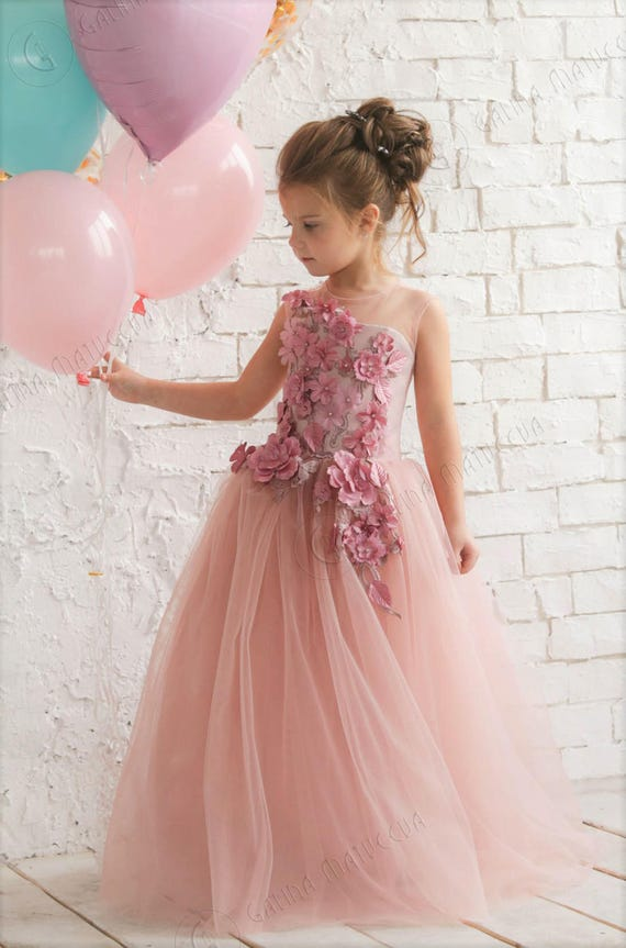 Blush Pink Flower Girl Dress Blush Flower Girl Dress Birthday Etsy