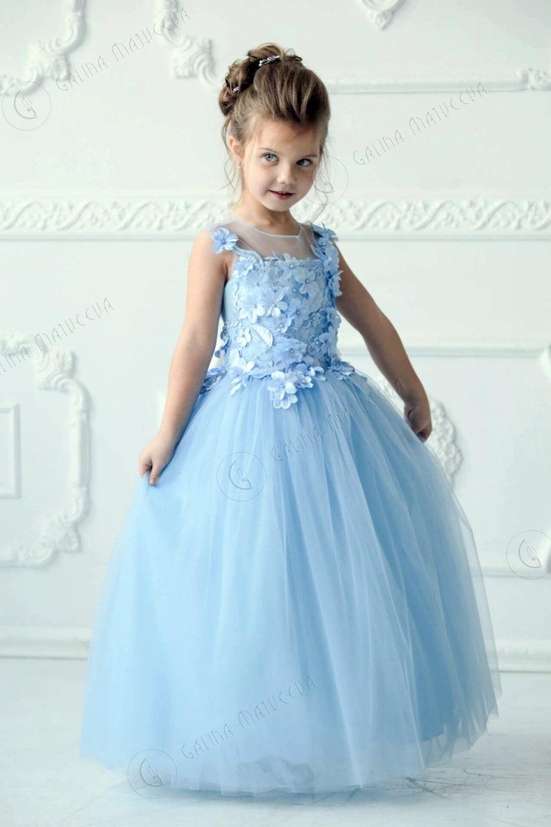 822f0b7e372 Light Blue Flower Girl Dress Blue Tutu Dress Birthday Wedding