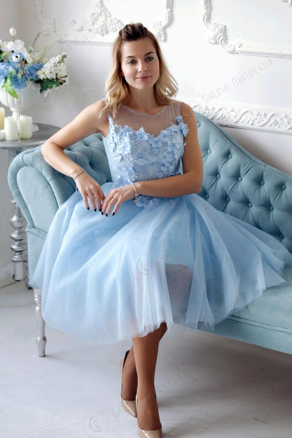 Blue Short Bridesmaid Tutu Dress Blue Wedding Dress With 3d Etsy