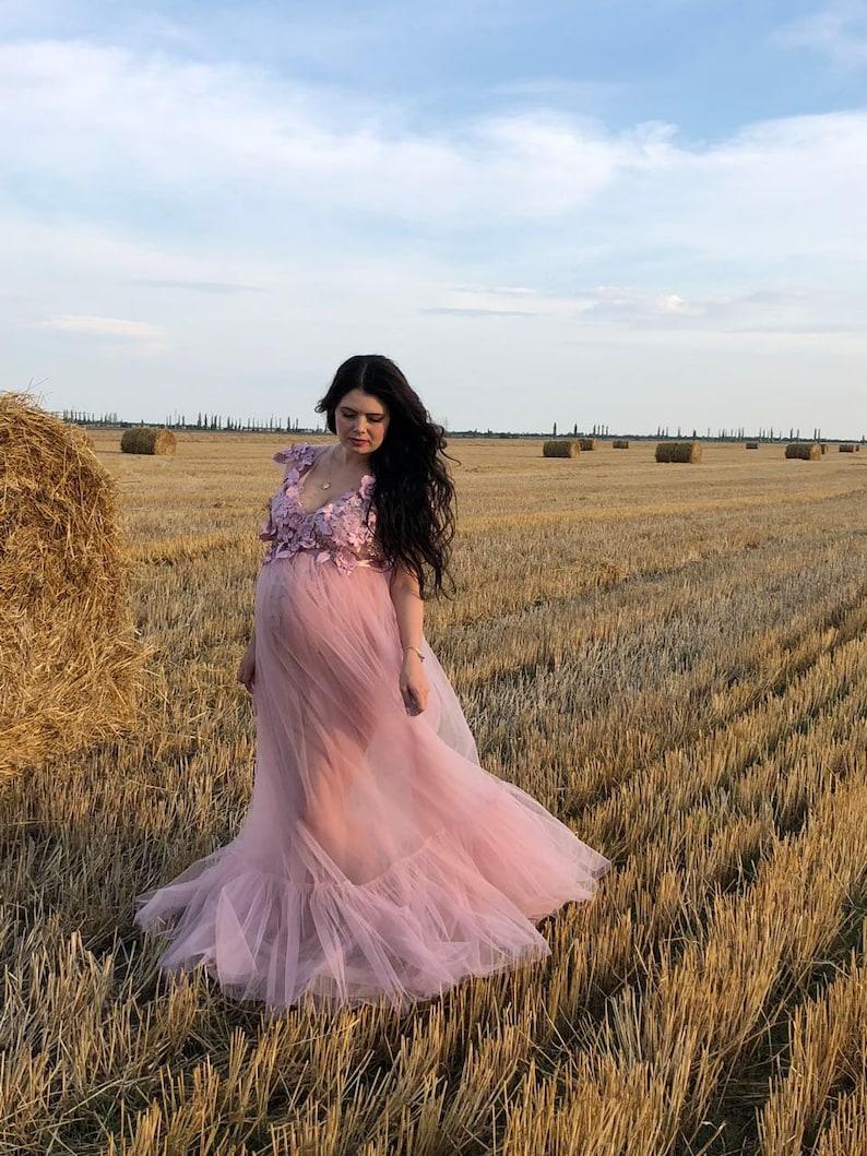 fd95e44eb146 Blush Pink Maternity Dress Pink Maternity Gown Blush Dress | Etsy