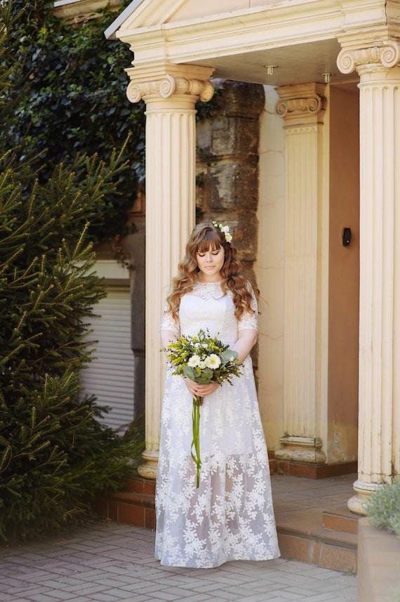 Ivory Simple Wedding Dress Lace Wedding Dress Boho Wedding Etsy