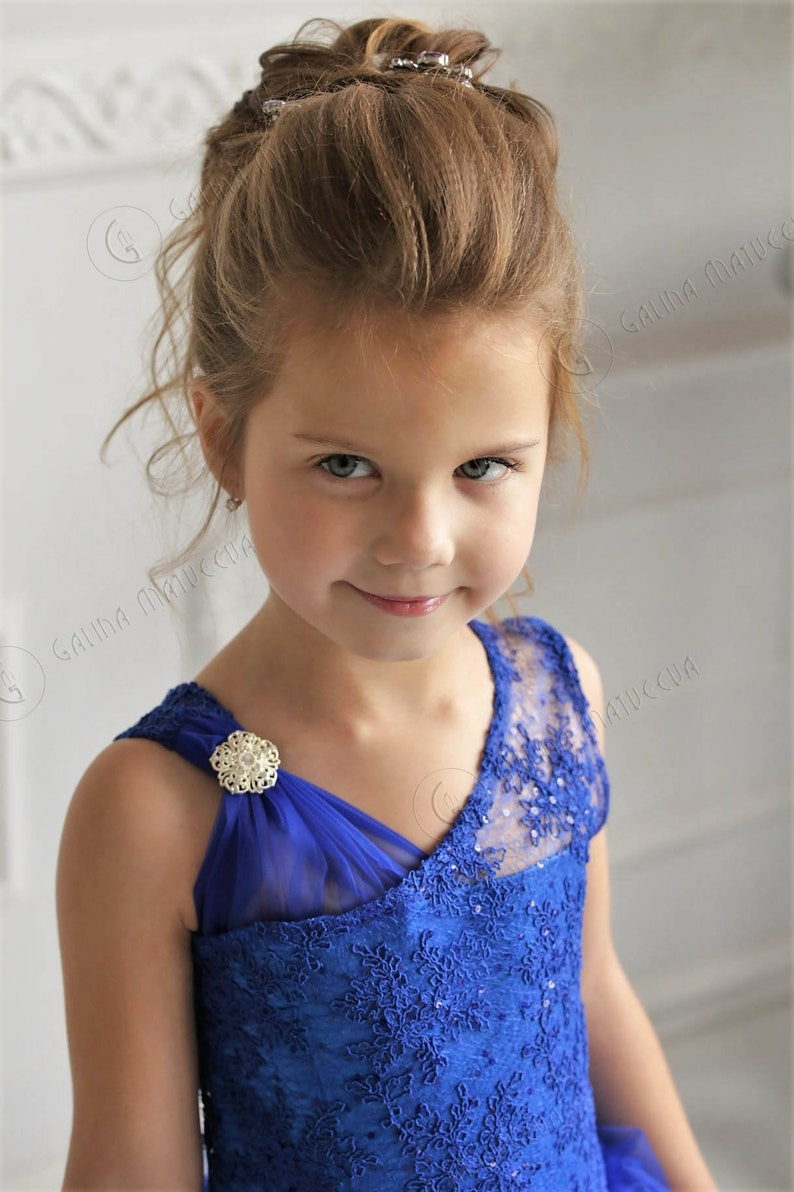 2eef8943c Navy Blue Flower Girl Dress with brooch Birthday Wedding