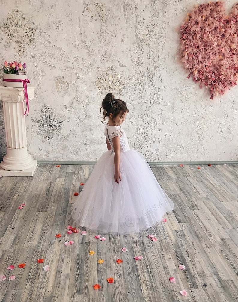 d18d78cfb92 White Flower Girl Dress White Tutu Skirt-First Communion Dress