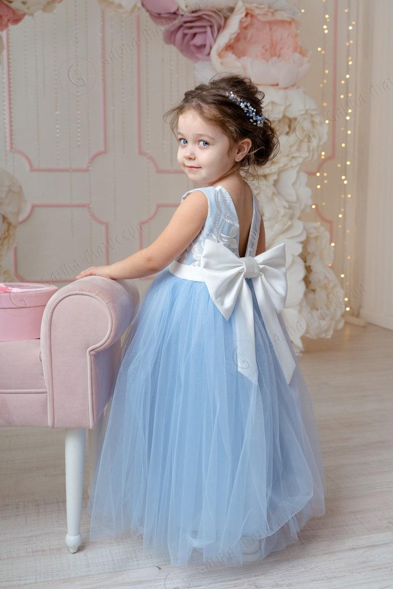 Dusty Blue Flower Girl Dress V-neckline Back Bow First image 0
