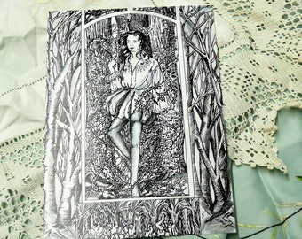 Briar Rose. Pen and ink illustration print.