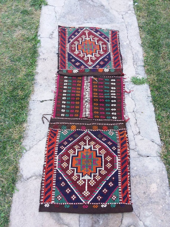 Turkish Kilim Saddle Bag, Nomadic Handmade Saddle