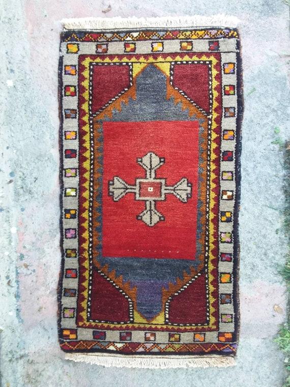 Turkische Kleiner Teppich Jahrgang Kleiner Teppich Uschak Etsy