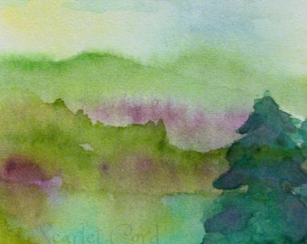 ACEO Watercolor Print, Landscape Print, Art Card, ATC, 2.5x3.5, Watercolor Moon, Miniature Painting, Art Wall Decor