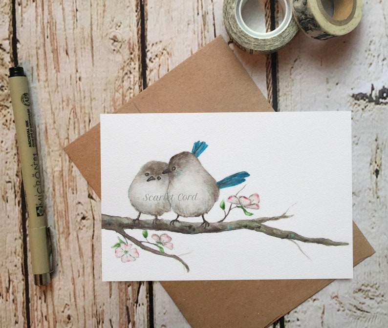 Blue Birds Watercolor Print #47 4x6 Painting Friendship Note Card and Envelope 2 Birds on a Branch