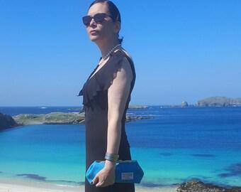 Turquoise 'Harris Tweed' Clutch Bag