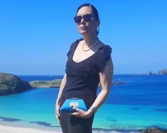 Turquoise 'Harris Tweed' Clutch Purse