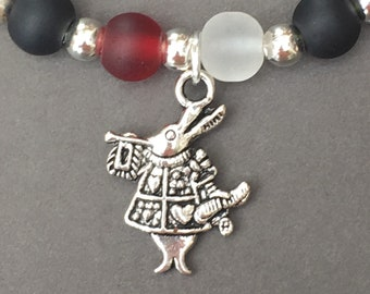 Alice in Wonderland White Rabbit beaded stretch bracelet