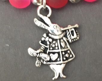 Alice In Wonderland White Rabbit stretch beaded bracelet