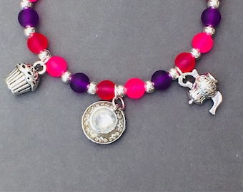 Stretch beaded bracelet with Afternoon Tea Cupcake Teacup Teapot charms