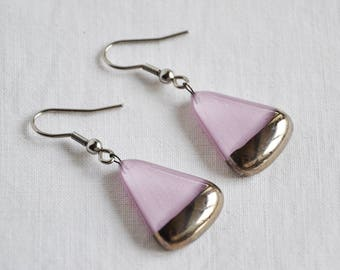 Earrings handmade painted light violet with platinum, circle sector