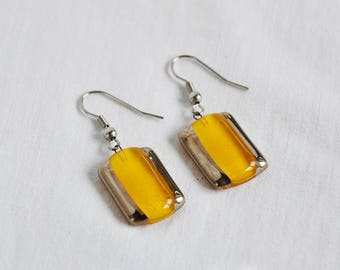 Earrings handmade painted yellow with platinum, rectangle