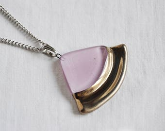 Necklace - pendant handmade painted light violet with platinum, circle sector