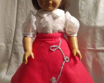 Pink poodle skirt with velcro enclosure in back