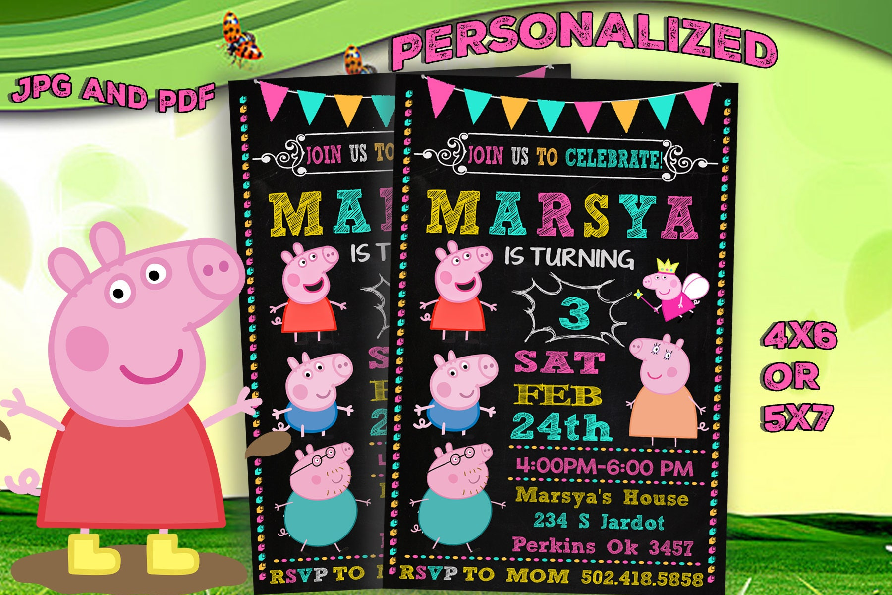 Peppa Pig Invitation Peppa Birthday Invitation Peppa
