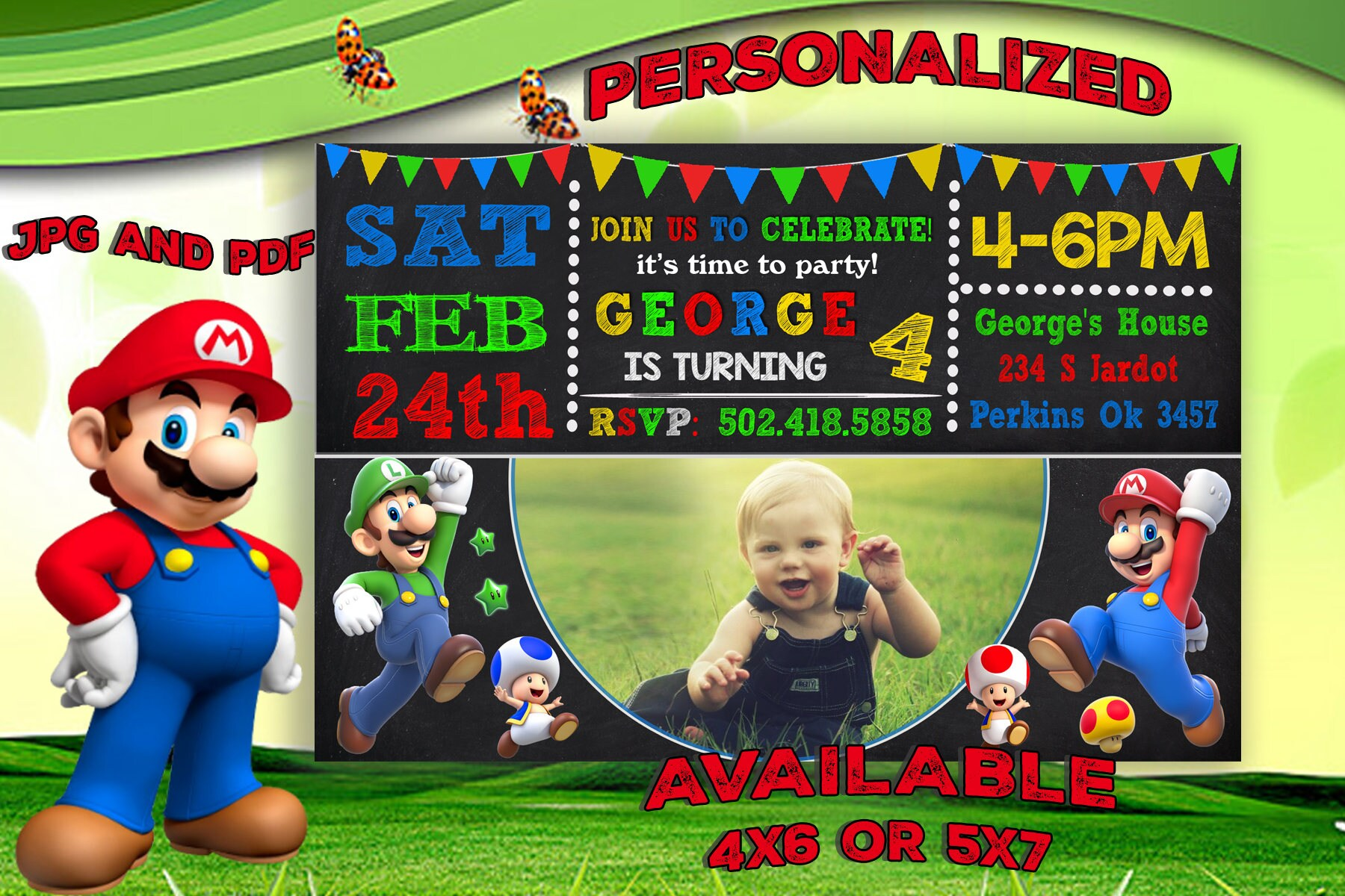 Super Mario Invitation Super Mario Birthday Invitation Super