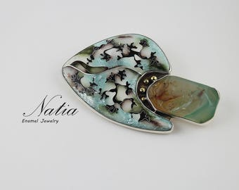 Abstraction,Real cloisonne enamel,Handmade jewelry for women,Brooch-pendant,Gifts for women,Gifts for mom,Sterling silver,Gemstone Agate