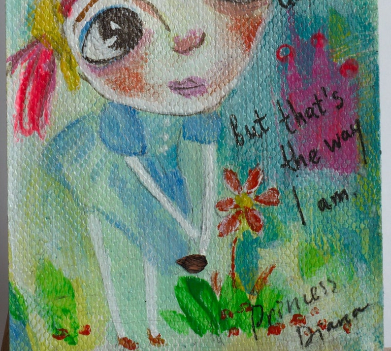 Mixed Media figurative art Whimsical art ATC painting Cute girl ACEO Miniature painting funny art Free Spirit Original ACEO painting