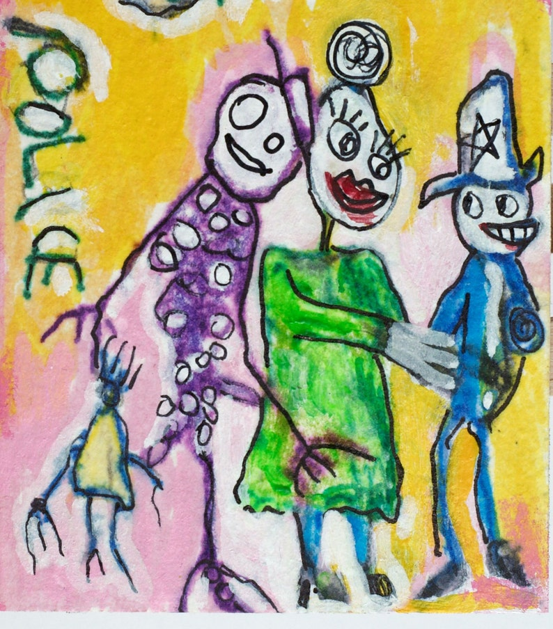 Funny art Love Gifts Drawing Original Folk Art Weird Stuff Police art Whimsical Police ACEO Outsider art Miniature Collectible ATC