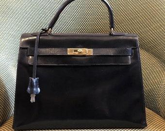 af0ca224bc5ca Hermès Kelly 32 Handbag Black Box Vintage Beautiful Condition
