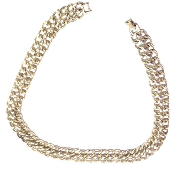 Vintage 70's Silver Large Chain Link French Choker
