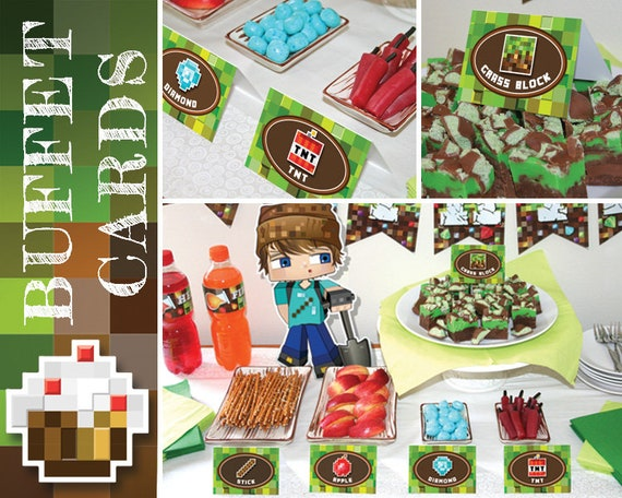 Mine Themed Party Buffet Cards Printable Set Of 80 Mining Items Tools Gemstones And Food Bonus Minecraft Inspired Food Tents Included