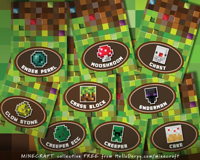 e1659db6d3155 Mine Party Buffet Cards Printable Set of 80 Pixel Mining
