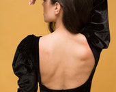 Vintage inspired black velvet bodysuit with puffed sleeves statement bodysuit with open back puff long sleeve top