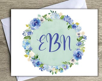 Personalized Stationery, floral personalized notecards, custom stationery, monogrammed stationary, blank inside notecards, initial notecards