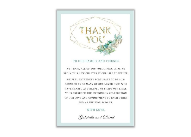 graphic about Printable Thank You Note titled Wedding day Thank Your self Card Thank Oneself Be aware Printable Thank By yourself Letter  Eucalyptus Greenery Thank On your own Eucalyptus Marriage ceremony Thank By yourself